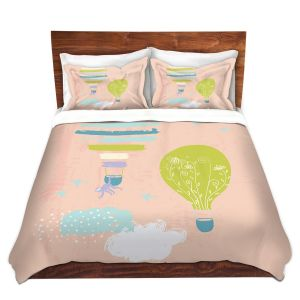 Artistic Duvet Covers and Shams Bedding | Metka Hiti - Balloons Clouds Pink