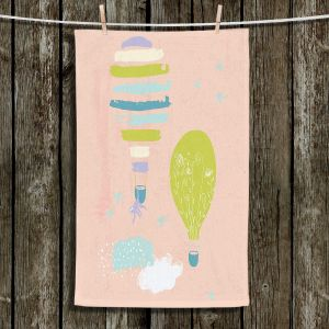 Unique Hanging Tea Towels | Metka Hiti - Balloons Clouds Pink | Birds Animals Hot Air Balloons Monkey