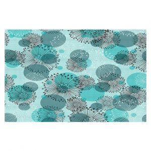Unique Area Rug 2 x 3 Ft from DiaNoche Designs by Metka Hiti - Black White Flowers Teal