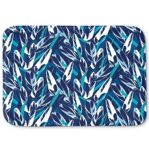 Decorative Bathroom Mats | Metka Hiti - Blue Leafs | Leaves Patterns
