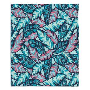 Decorative Fleece Throw Blankets | Metka Hiti - Brushed Leafs | Nature Leaves
