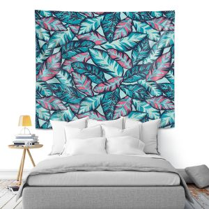 Artistic Wall Tapestry   Metka Hiti - Brushed Leafs   Nature Leaves
