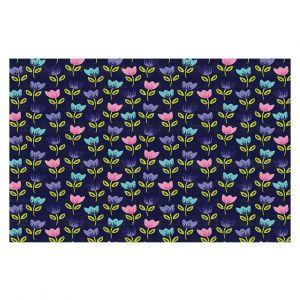 Decorative Floor Covering Mats | Metka Hiti - Bugs Tulips | Floral Flowers pattern