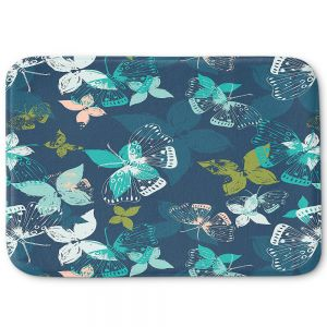 Decorative Bathroom Mats | Metka Hiti - Butterflies Blue
