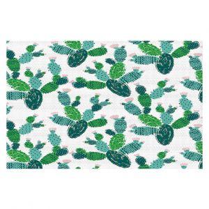 Decorative Floor Covering Mats | Metka Hiti - Cactus Green | Nature desert pattern illustration graphic