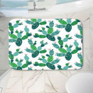 Decorative Bathroom Mats | Metka Hiti - Cactus Green | Nature desert pattern illustration graphic