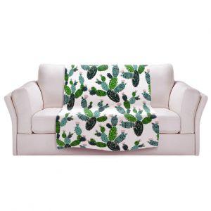 Artistic Sherpa Pile Blankets | Metka Hiti - Cactus Green | Nature desert pattern illustration graphic