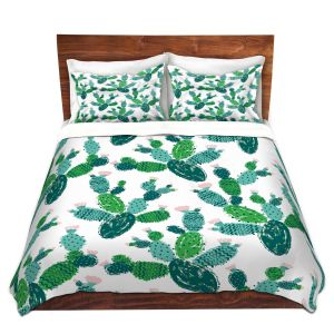 Artistic Duvet Covers and Shams Bedding | Metka Hiti - Cactus Green | Nature desert pattern illustration graphic