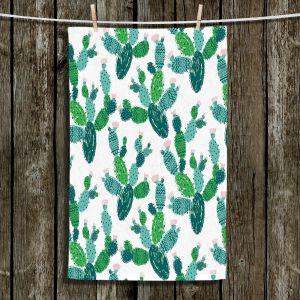 Unique Bathroom Towels   Metka Hiti - Cactus Green   Nature desert pattern illustration graphic