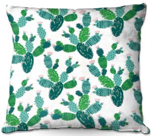 Decorative Outdoor Patio Pillow Cushion | Metka Hiti - Cactus Green | Nature desert pattern illustration graphic