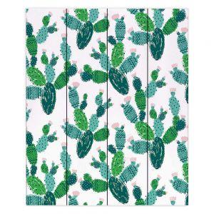 Decorative Wood Plank Wall Art   Metka Hiti - Cactus Green   Nature desert pattern illustration graphic