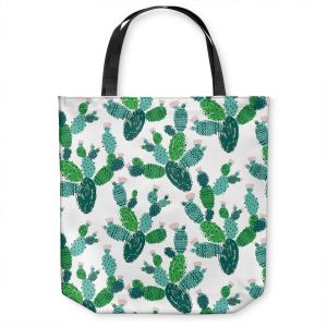 Unique Shoulder Bag Tote Bags | Metka Hiti - Cactus Green | Nature desert pattern illustration graphic
