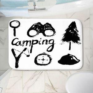 Decorative Bathroom Mats   Metka Hiti - Camping Equipment   Nature outdoors binoculars tree compas sling shot tent magnifying glass text