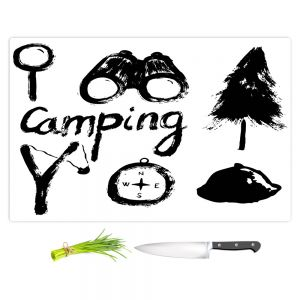 Artistic Kitchen Bar Cutting Boards | Metka Hiti - Camping Equipment | Nature outdoors binoculars tree compas sling shot tent magnifying glass text