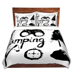 Artistic Duvet Covers and Shams Bedding   Metka Hiti - Camping Equipment   Nature outdoors binoculars tree compas sling shot tent magnifying glass text