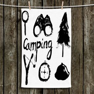 Unique Hanging Tea Towels | Metka Hiti - Camping Equipment | Nature outdoors binoculars tree compas sling shot tent magnifying glass text