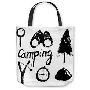Unique Shoulder Bag Tote Bags | Metka Hiti - Camping Equipment | Nature outdoors binoculars tree compas sling shot tent magnifying glass text