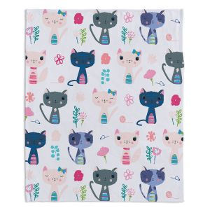 Decorative Fleece Throw Blankets | Metka Hiti - Cats | Nature kittens pattern repetition graphic