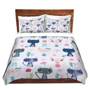 Artistic Duvet Covers and Shams Bedding | Metka Hiti - Cats | Nature kittens pattern repetition graphic