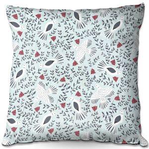 Decorative Outdoor Patio Pillow Cushion | Metka Hiti - Christmas Dove | Christmas Birds
