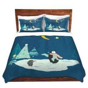 Artistic Duvet Covers and Shams Bedding | Metka Hiti - Christmas Penguin