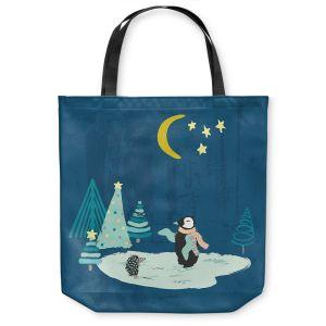 Unique Shoulder Bag Tote Bags |Metka Hiti - Christmas Penguin
