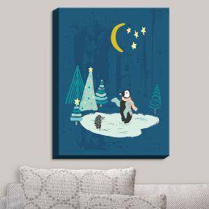 Decorative Canvas Wall Art | Metka Hiti - Christmas Penguin | Christmas Tree Penguin Moon Starts Pond
