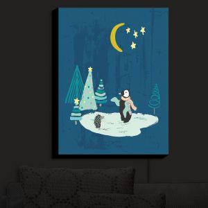 Nightlight Sconce Canvas Light | Metka Hiti - Christmas Penguin | Christmas Tree Penguin Moon Starts Pond