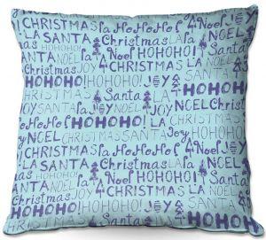 Decorative Outdoor Patio Pillow Cushion | Metka Hiti - Christmas Text | Holiday xmas typography graphic