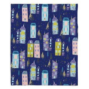 Decorative Fleece Throw Blankets | Metka Hiti - Christmas Town | Holiday xmas buildings village city pattern