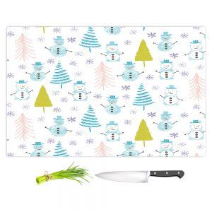 Artistic Kitchen Bar Cutting Boards | Metka Hiti - Christmas Town Snowman | Holiday xmas nature winter cold