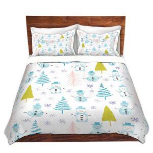 Artistic Duvet Covers and Shams Bedding | Metka Hiti - Christmas Town Snowman | Holiday xmas nature winter cold