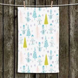 Unique Hanging Tea Towels | Metka Hiti - Christmas Town Snowman | Holiday xmas nature winter cold