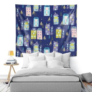Artistic Wall Tapestry | Metka Hiti - Christmas Town | Holiday xmas buildings village city pattern