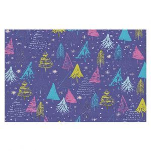 Decorative Floor Covering Mats   Metka Hiti - Christmas Town Trees   Holiday xmas nature outdoors forest