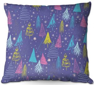 Decorative Outdoor Patio Pillow Cushion | Metka Hiti - Christmas Town Trees | Holiday xmas nature outdoors forest