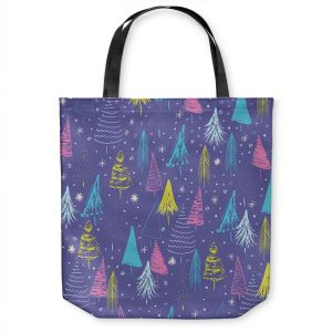Unique Shoulder Bag Tote Bags | Metka Hiti - Christmas Town Trees | Holiday xmas nature outdoors forest