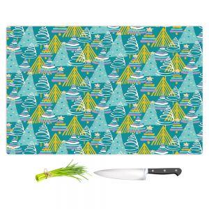 Artistic Kitchen Bar Cutting Boards | Metka Hiti - Christmas Tree Teal Pink