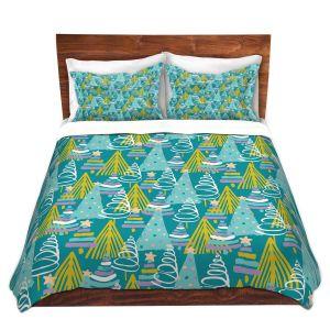Artistic Duvet Covers and Shams Bedding | Metka Hiti - Christmas Tree Teal Pink