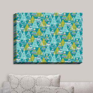 Decorative Canvas Wall Art | Metka Hiti - Christmas Tree Teal Pink | Christmas Tree Holiday