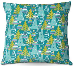 Decorative Outdoor Patio Pillow Cushion | Metka Hiti - Christmas Tree Teal Pink