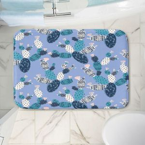 Decorative Bathroom Mats | Metka Hiti - Coloful Cactus Navy Violet