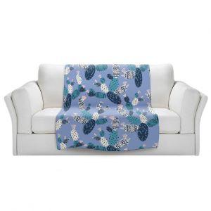 Artistic Sherpa Pile Blankets | Metka Hiti - Coloful Cactus Navy Violet