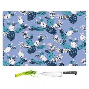 Artistic Kitchen Bar Cutting Boards | Metka Hiti - Coloful Cactus Navy Violet