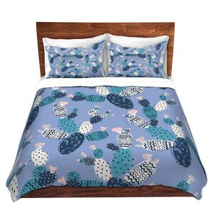 Artistic Duvet Covers and Shams Bedding | Metka Hiti - Coloful Cactus Navy Violet