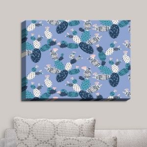 Decorative Canvas Wall Art | Metka Hiti - Coloful Cactus Navy Violet | Patterns Cactus