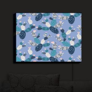 Nightlight Sconce Canvas Light | Metka Hiti - Coloful Cactus Navy Violet | Patterns Cactus
