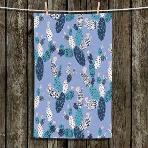 Unique Bathroom Towels   Metka Hiti - Coloful Cactus Navy Violet