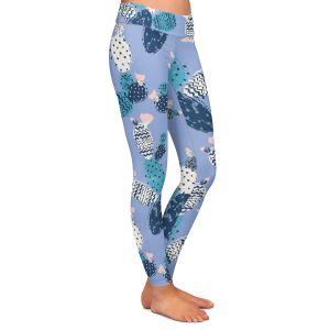 Casual Comfortable Leggings | Metka Hiti - Coloful Cactus Navy Violet