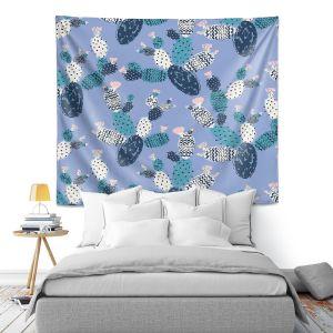 Artistic Wall Tapestry | Metka Hiti - Coloful Cactus Navy Violet
